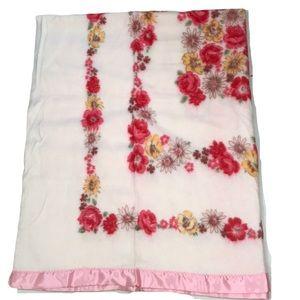 Vintage Satin Trim Pastel Pink Floral Blanket